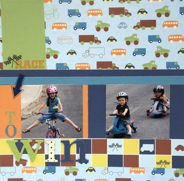 """Race"" Layout using Tortoise and the Hare Collection from Piggy Tales"