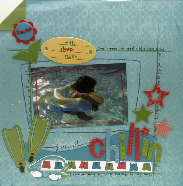 """""""Chillin"""" Layout using Row, Row, Row Your Boat Collection from Piggy Tales"""