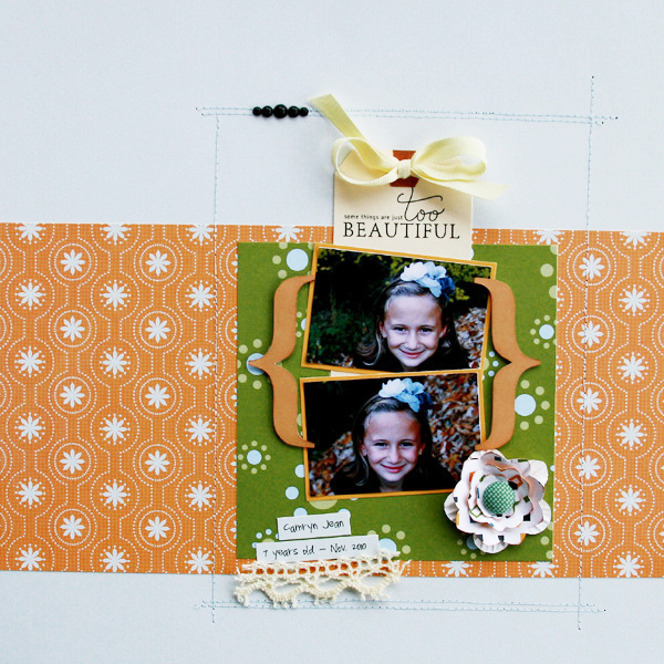 """Too Beautiful"" Layout by Renee Moris-Dezember using Thumbelina Collection from Piggy Tales"